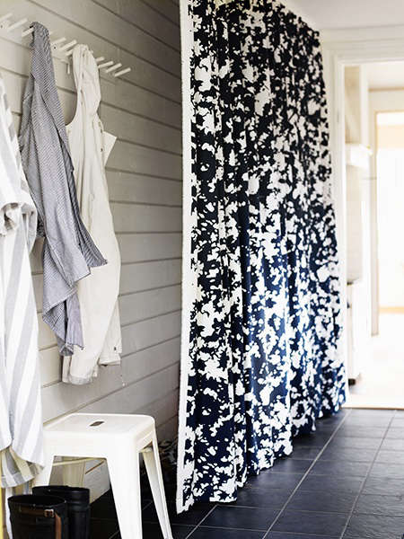 swedish entryway with curtain