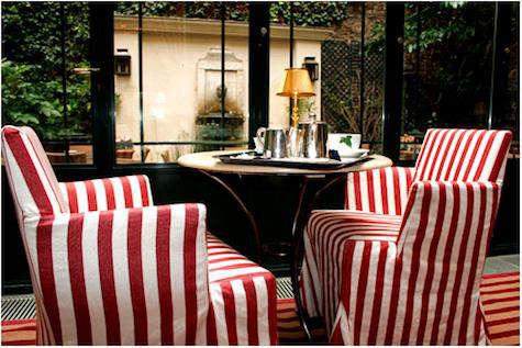 hotel labbaye striped chairs