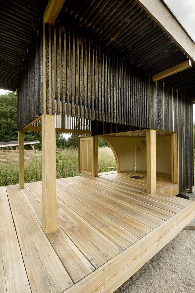 Charred larch cladding on the exterior of a Japanese-style teahouse in the Czech Republic from A Teahouse, Charred and Blackened (On Purpose).