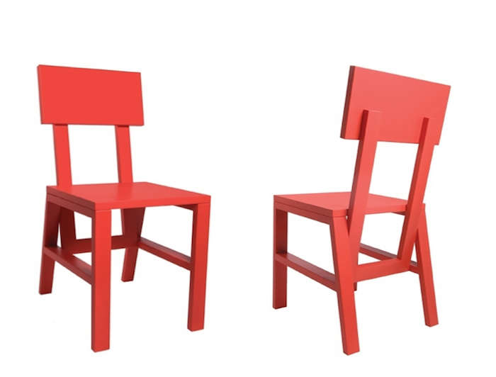 700 red stark chair wood