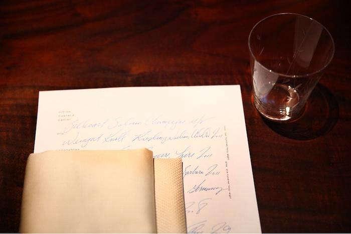 700 saison handwritten menu