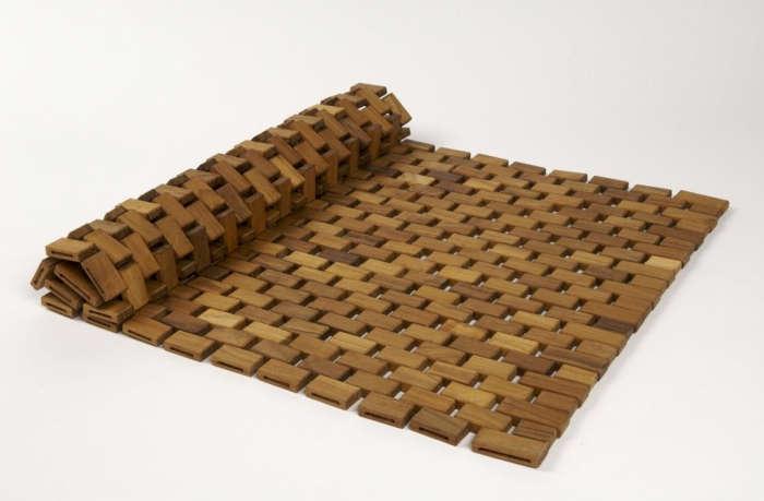 700 teak rounded bath mat