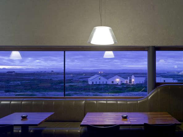 inis meain restaurant at dusk