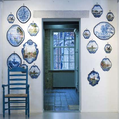 tichelaar blue plates on wall