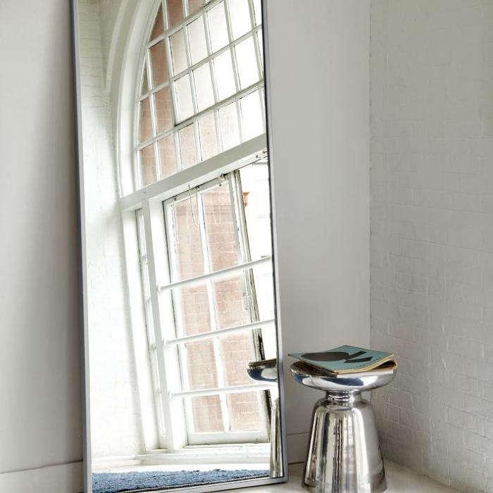 700 700 metal floor mirror silver stool