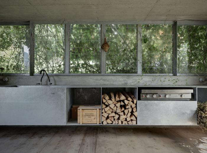 An unused garage becomes an indoor/outdoor kitchen with galvanized steel workspaces. See Paradise Found: A Garage Transformed into a Garden Pavilion on Gardenista.