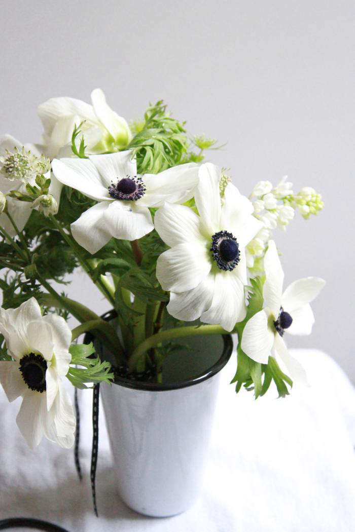 Bouquet of the Week Splurge on Black and White Anemones portrait 9