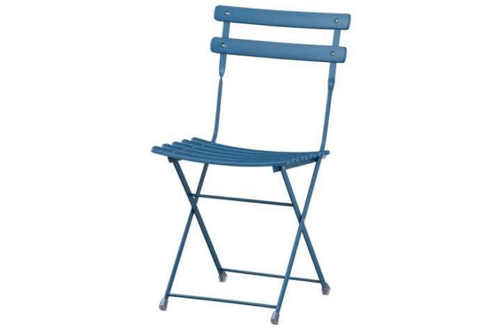 700 blue metal folding bistro chair crate and barrel