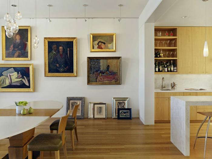 700 nick noyes 20th street residence with artwork and warm wood