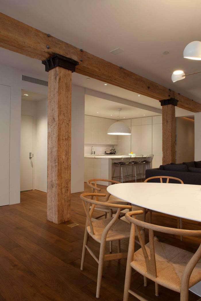 700 wettling architects loft with thick wood beams