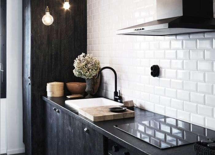 700 white beveled subway tile backsplash