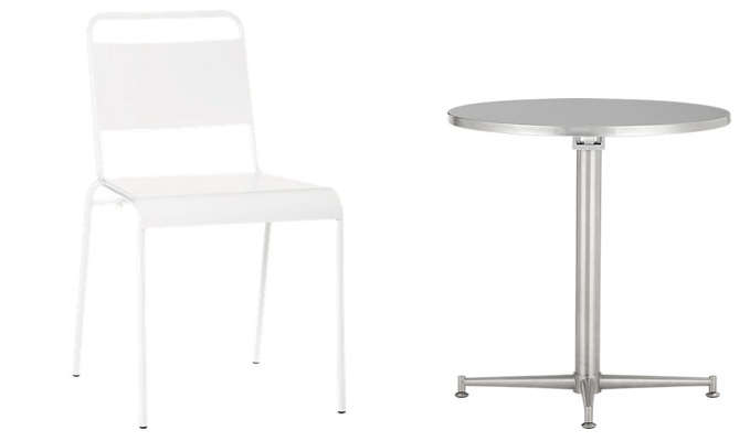 bistro table for two and chair from cb2