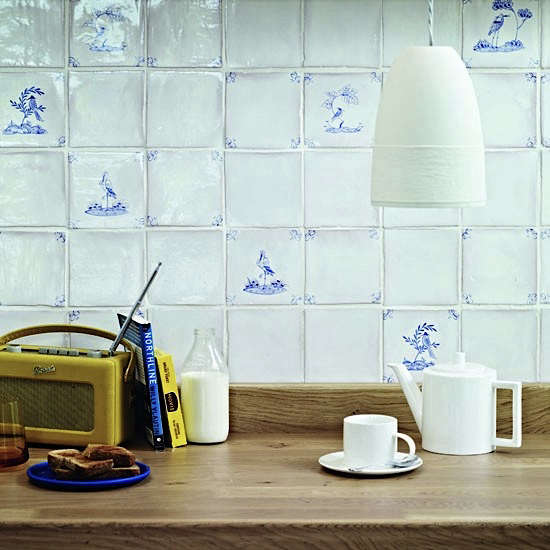 delft tile wood counter