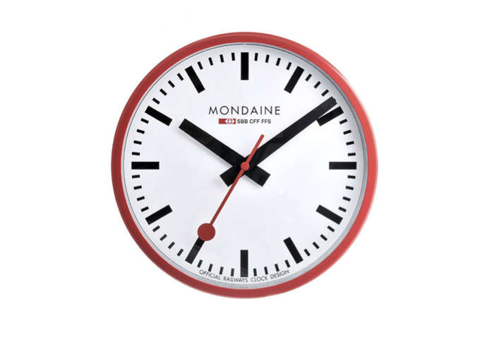 mondaine wall clock red