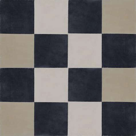 black white tile cement