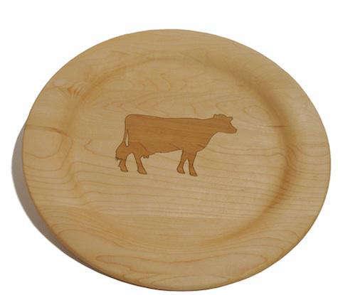 wood farm animal plate