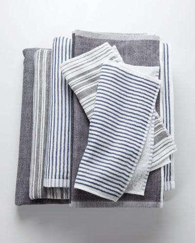 yoshii towel blue white stripe