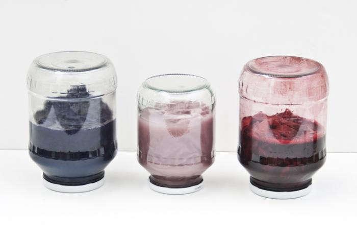 700 raw textile three jars of dye