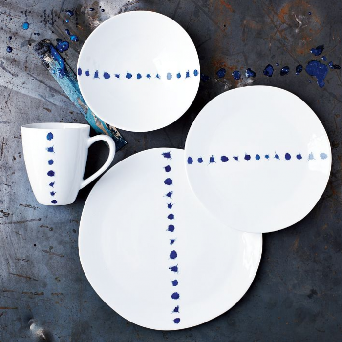 700 west elm blue splatter pottery