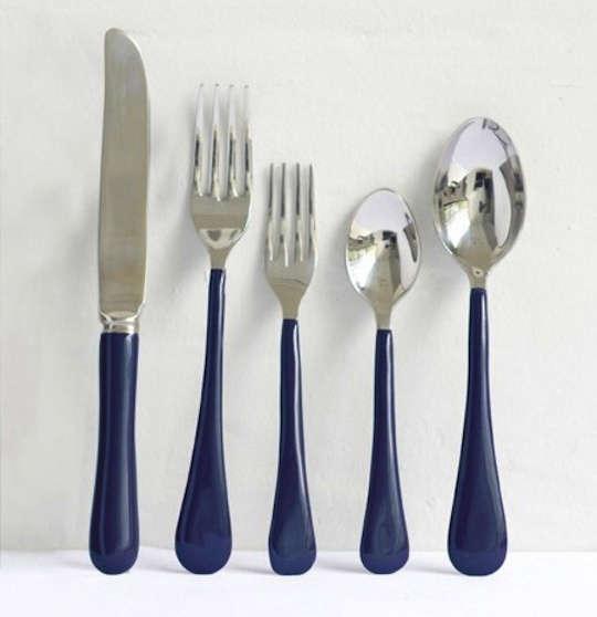 enamel flatware in dark blue