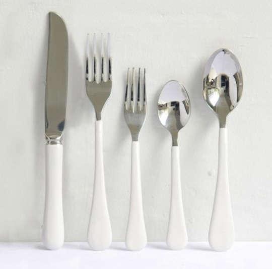 enamel flatware in white