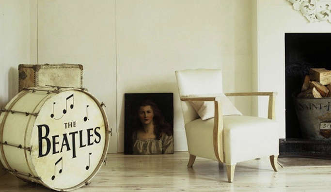 graphic prints beatles drum at home