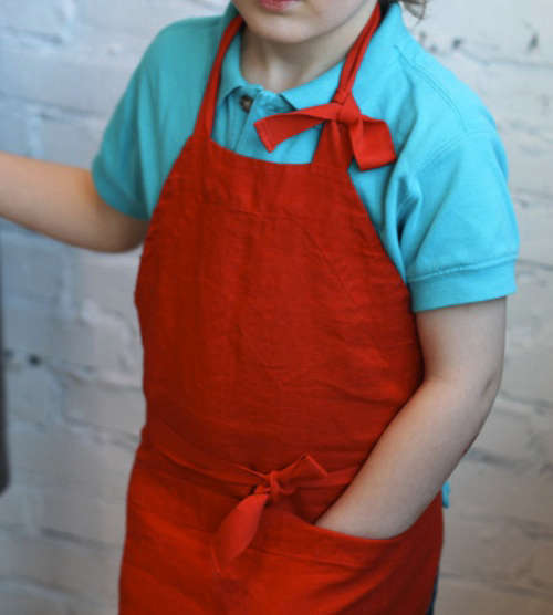 kids aprons little boy in red