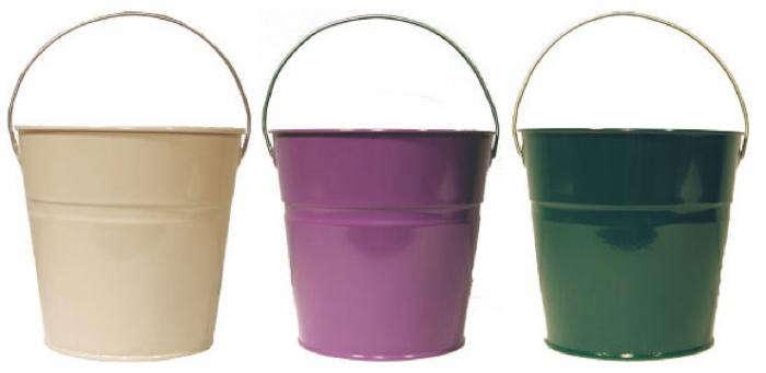 700 enamel buckets cream purple green