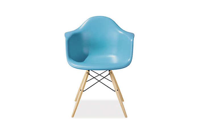 700 light blue eames molded plastic chair