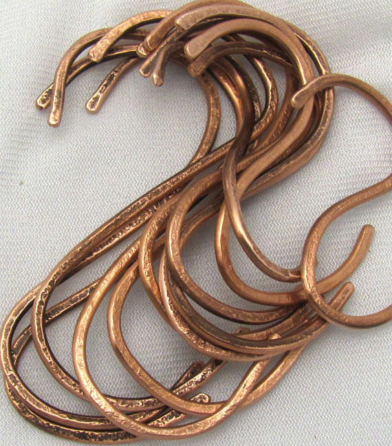 hand hammered copper s hooks