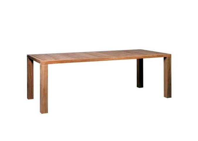 thin minimalist outdoor dining table