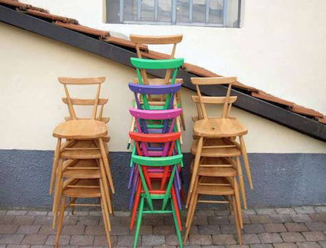 ercol colored chair stack