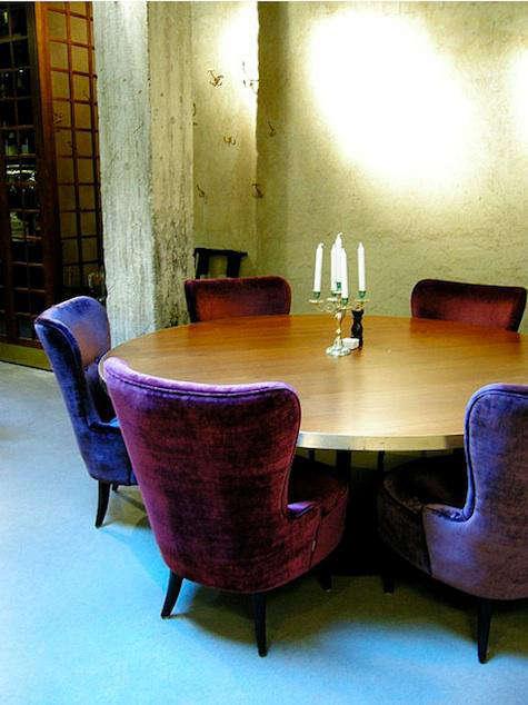 story hotel velvet armchairs
