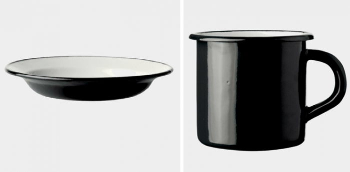 700 black enamel cup and dish