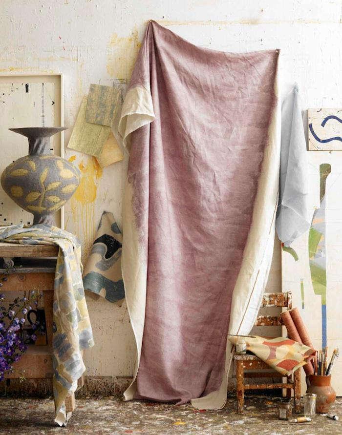 DIY HibiscusDyed Drop Cloth portrait 3