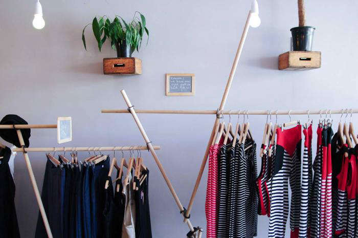 700 coat hanger clothing on rack striped clothes