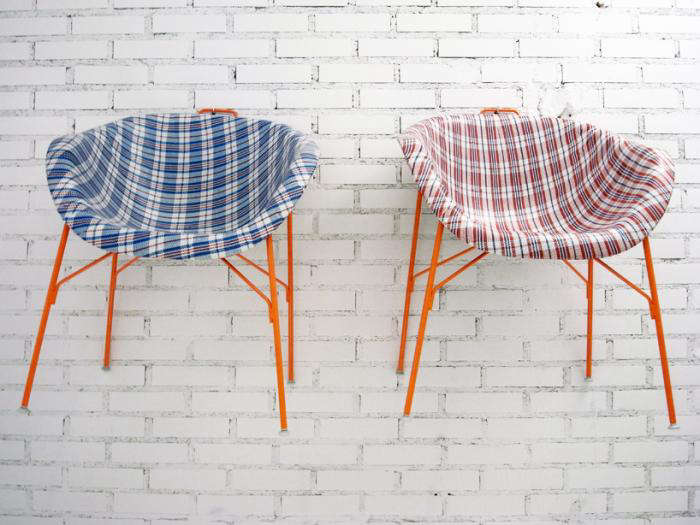 700 euphoria chairs checkered blue red against wall