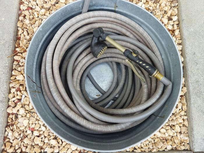 700 garden hose in galvanized bucket