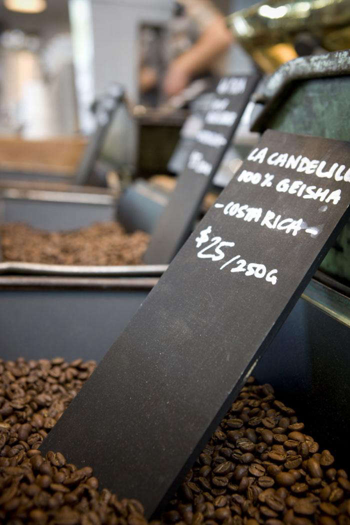 700 market lane coffee beans and sign