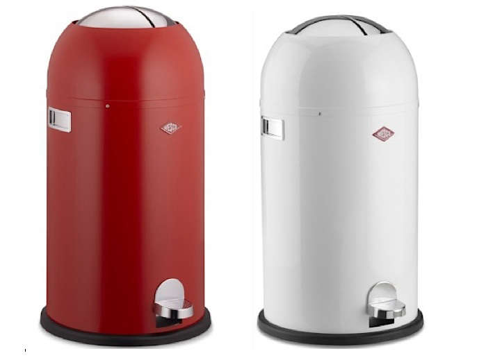 wesco red white garbage can