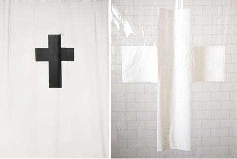 black white cross shower curtain