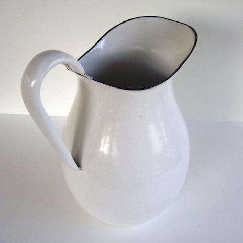 farmhouse white enamel pitcher