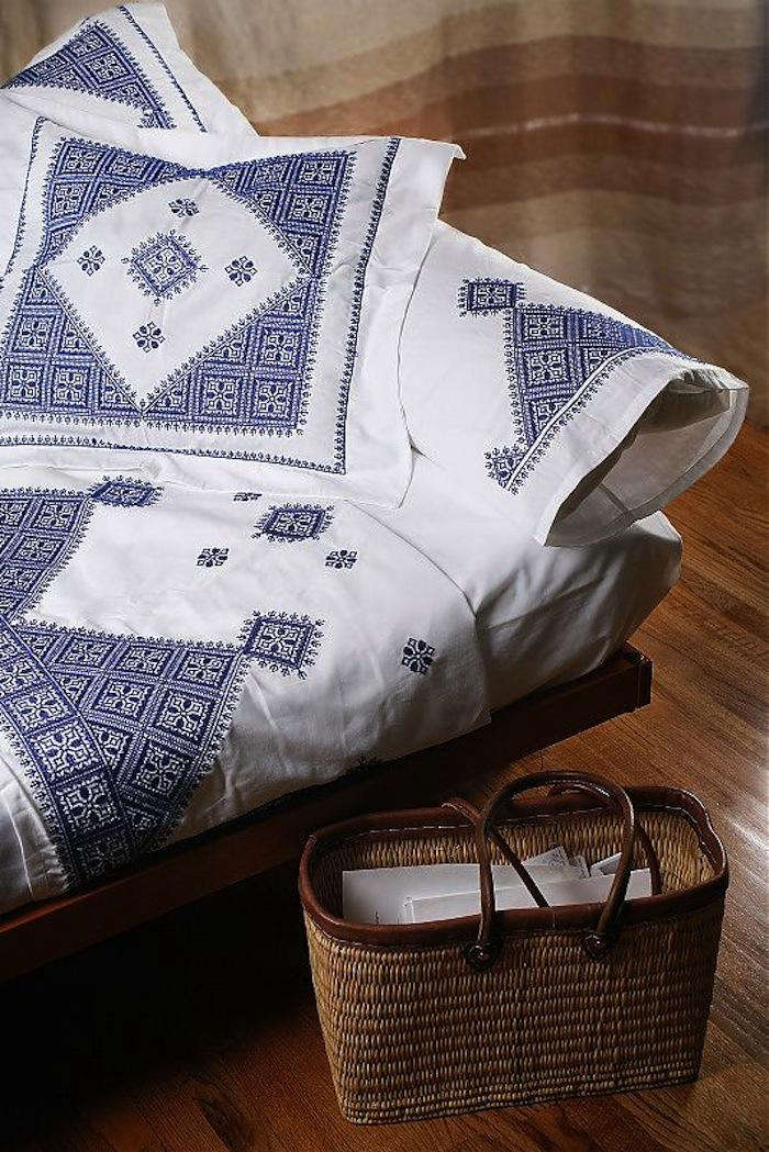 Fez Embroidered Bed Linens from Morocco portrait 3