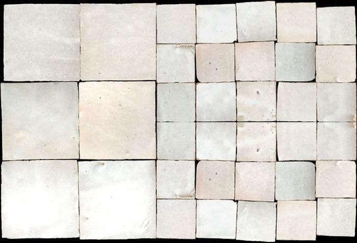 700 white misshapen tile glazed