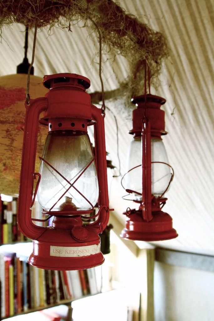 silkstone red hanging lantern