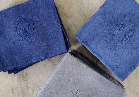 vintage linen napkins blue
