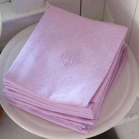 vintage linen napkins pink