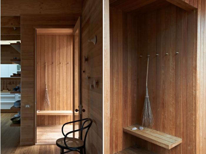 A charmingly crooked broom does double duty as a tool for sweeping the entryway and a display piece in this Australian cabin. See more inSlow House: A Serene Cabin in the Woods in Australia. Photograph by Earl Carter.