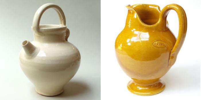700 poterie ravel white orange pitcher