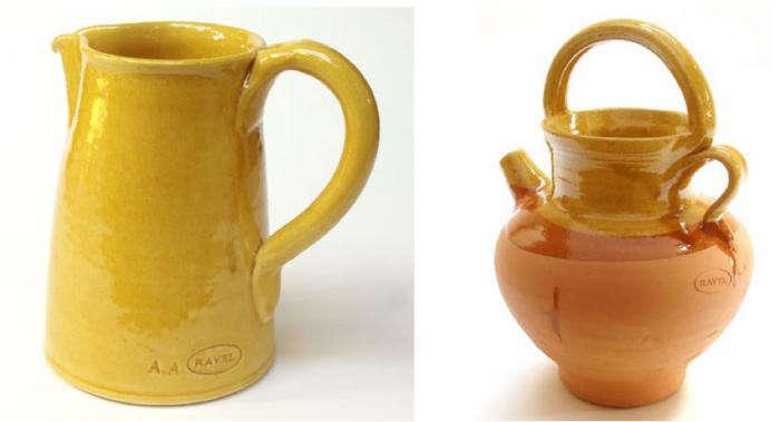 700 poterie ravel yellow orange pitcher